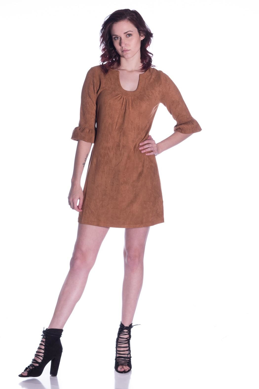 Aryeh Suede Shift Dress - Front Full Image