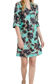 Aryeh Teal Floral Shift Dress - Product Mini Image