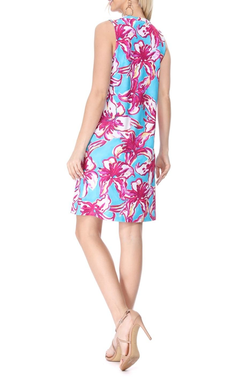 Aryeh Teal Henley Floral Dress - Back Cropped Image