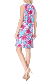 Aryeh Teal Henley Floral Dress - Back cropped