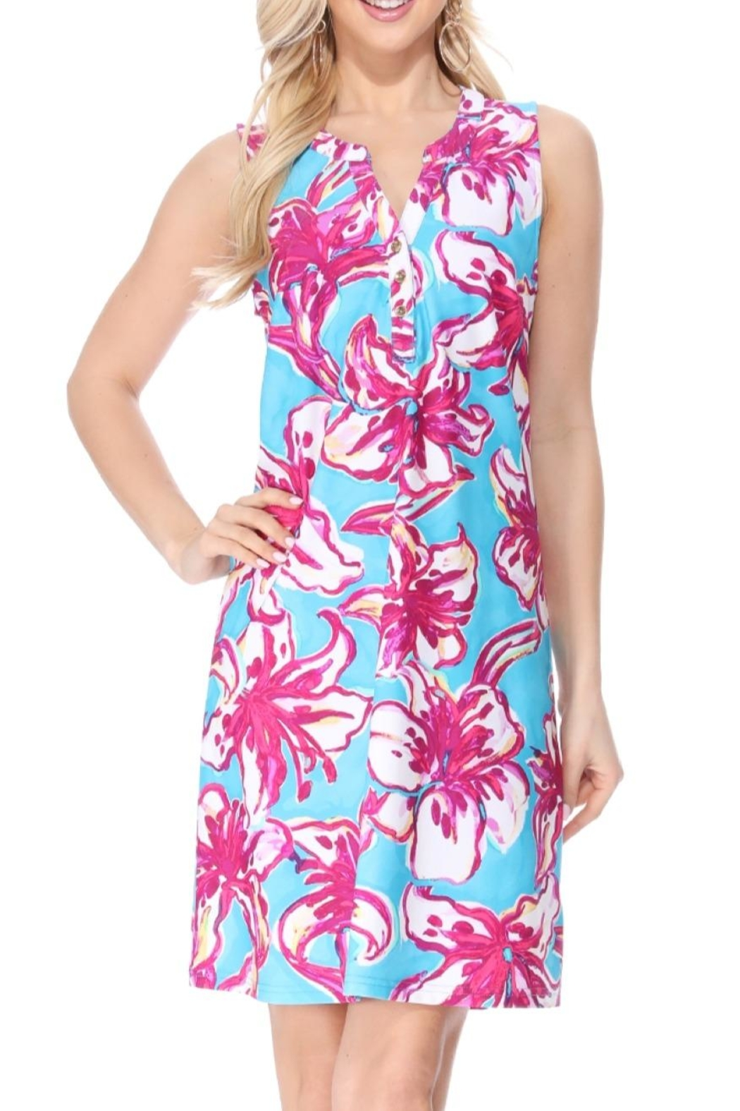 Aryeh Teal Henley Floral Dress - Side Cropped Image