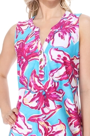 Aryeh Teal Henley Floral Dress - Front full body