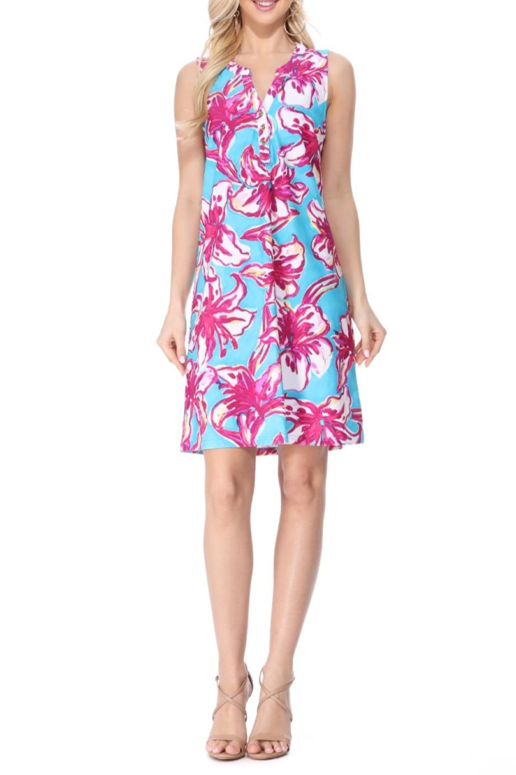 Aryeh Teal Henley Floral Dress - Main Image