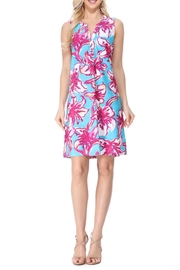 Aryeh Teal Henley Floral Dress - Product Mini Image