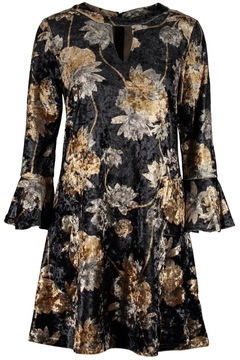 Aryeh Velvet Floral Keyhole Dress - Product List Image