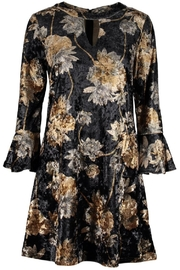 Aryeh Velvet Floral Keyhole Dress - Front cropped