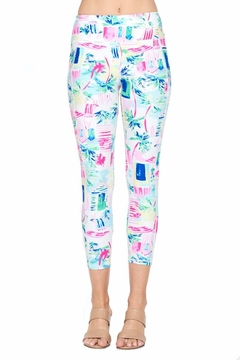 Shoptiques Product: White And Pink Cropped Leggings