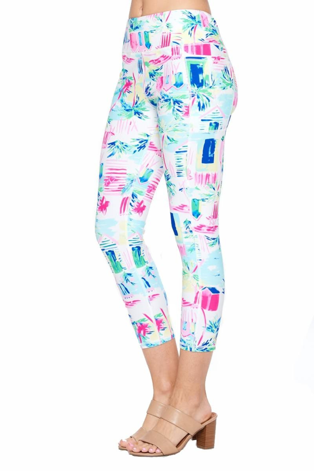 Aryeh White And Pink Cropped Leggings - Side Cropped Image