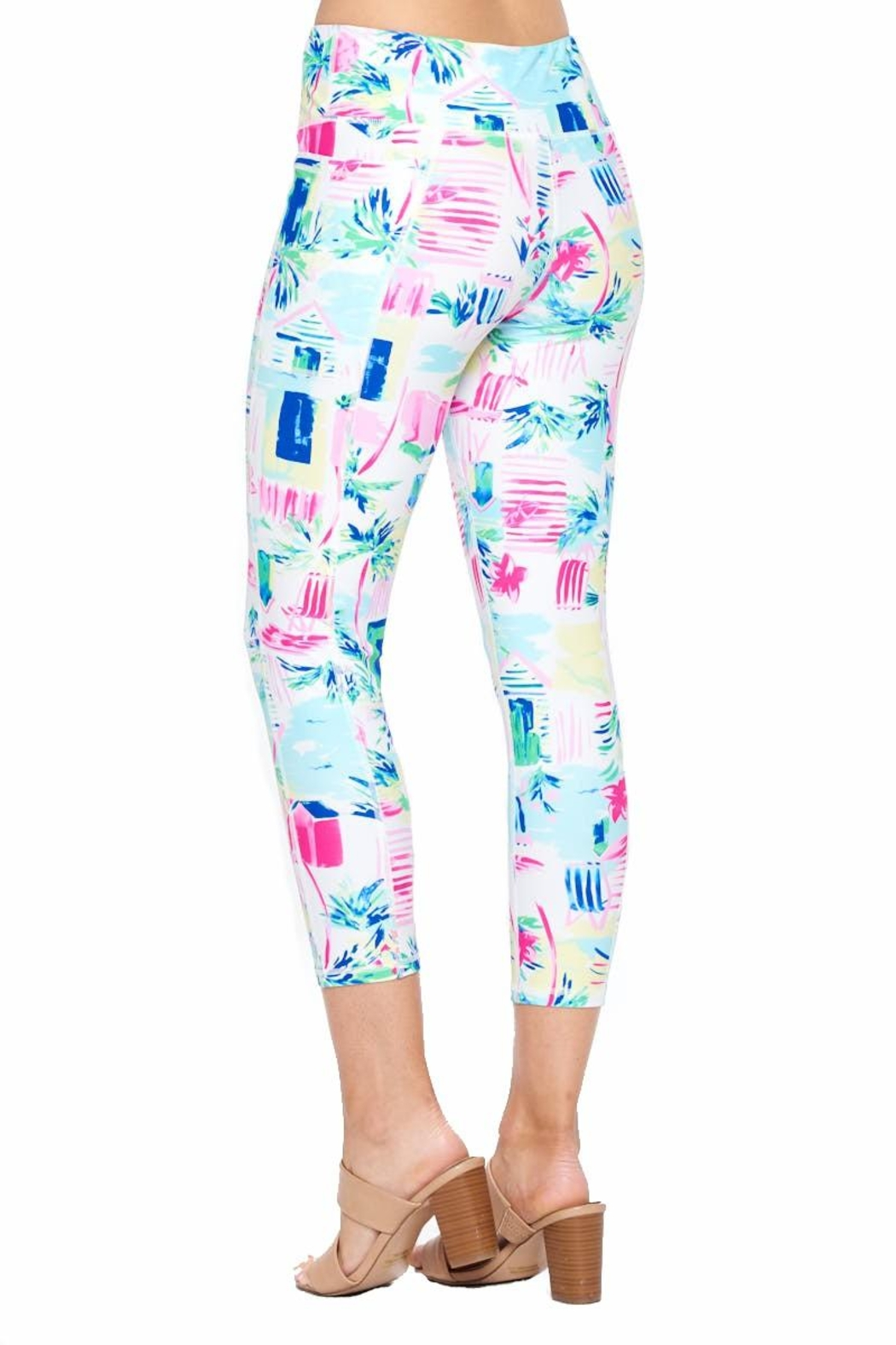 Aryeh White And Pink Cropped Leggings - Back Cropped Image