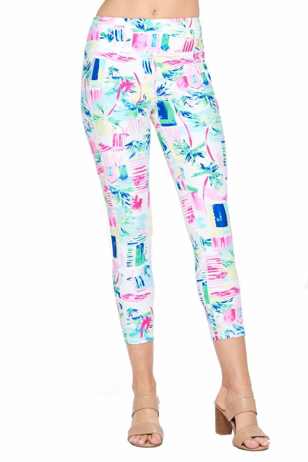 Aryeh White And Pink Cropped Leggings - Front Full Image
