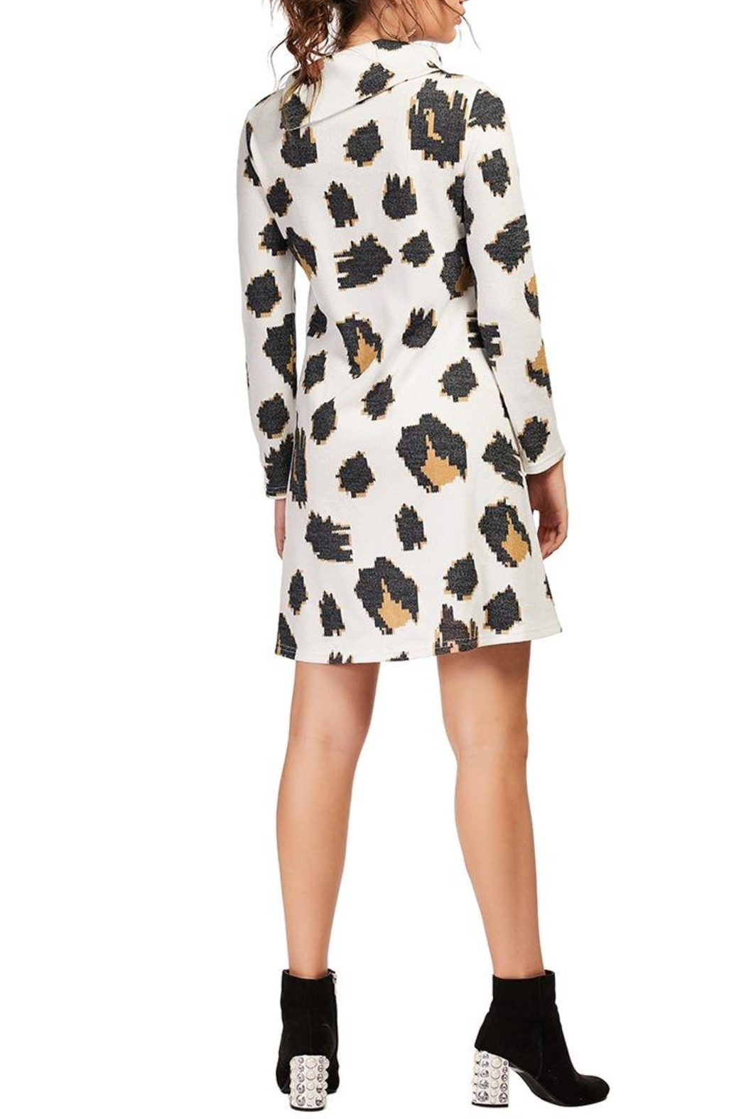 Aryeh White Cowl Neck Knit Dress - Side Cropped Image