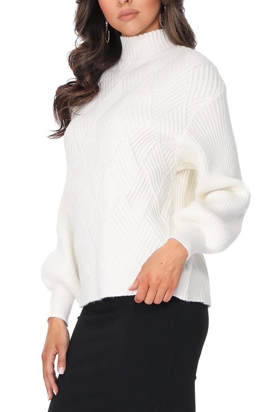 Aryeh White Turtle Neck Pullover - Front Full Image