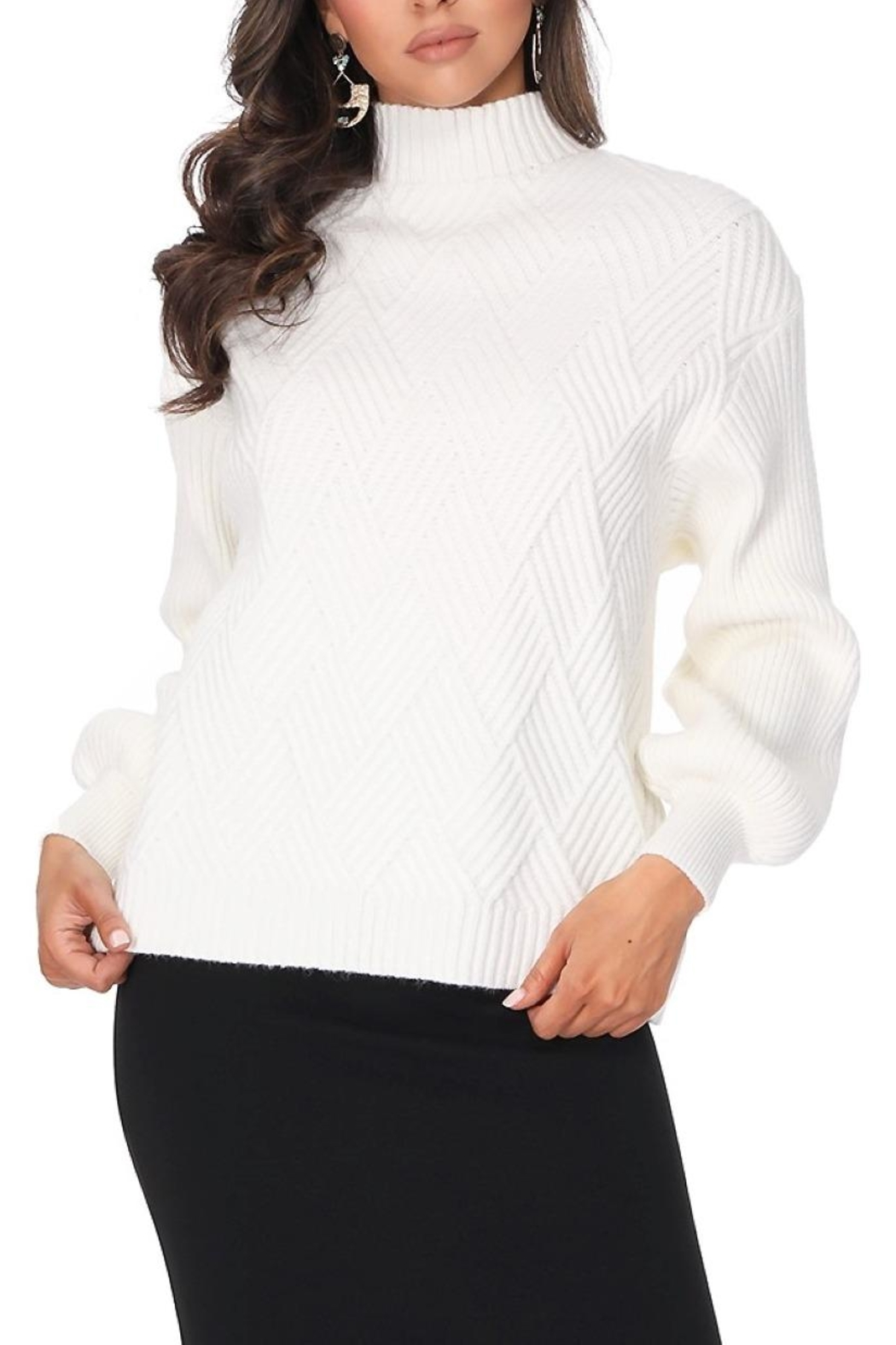 Aryeh White Turtle Neck Pullover - Main Image
