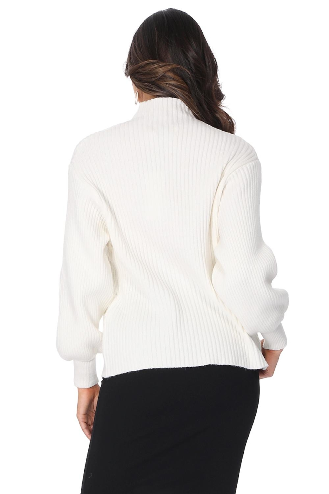Aryeh White Turtle Neck Pullover - Back Cropped Image