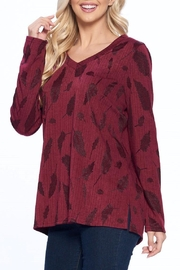 Aryeh Wine V-Neck Knit Top - Side cropped