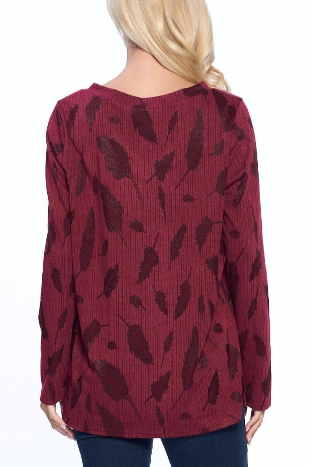 Aryeh Wine V-Neck Knit Top - Back Cropped Image