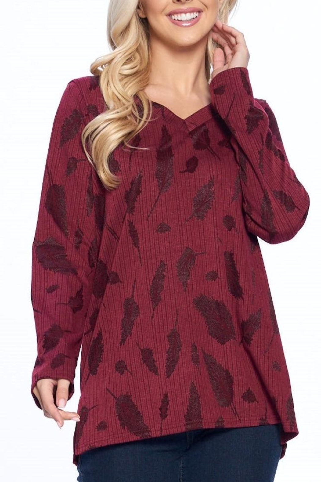 Aryeh Wine V-Neck Knit Top - Front Full Image