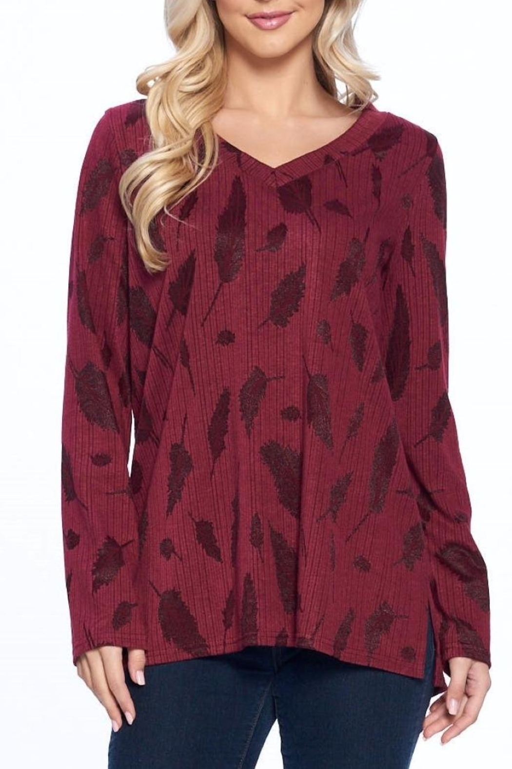 Aryeh Wine V-Neck Knit Top - Main Image