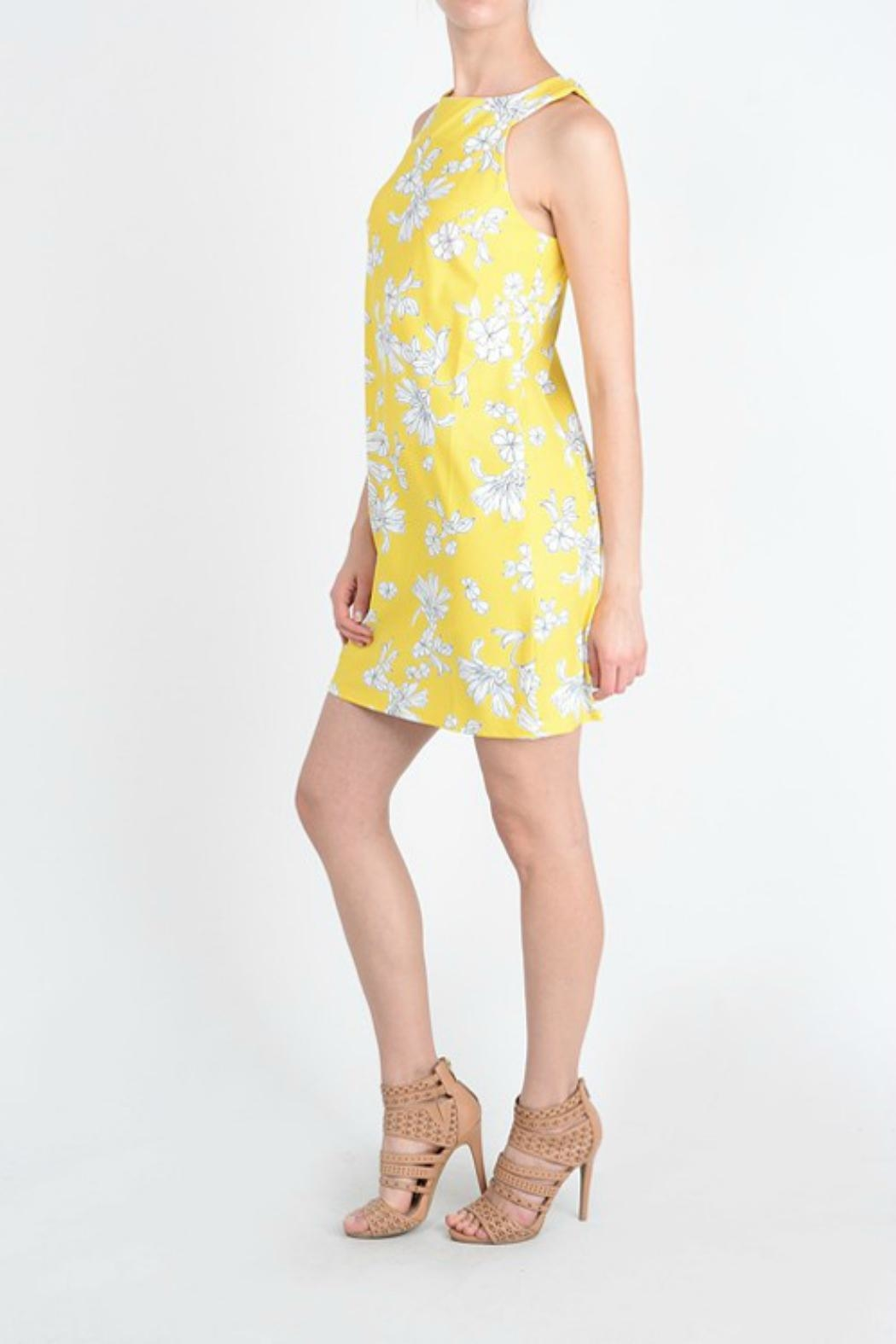 Aryeh Yellow Floral Dress - Side Cropped Image