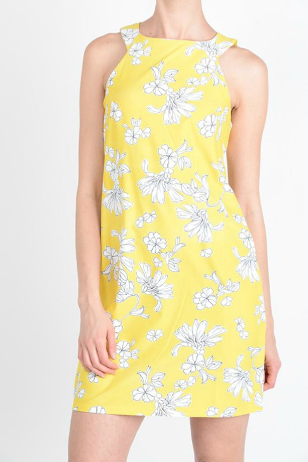 Aryeh Yellow Floral Dress - Front Full Image