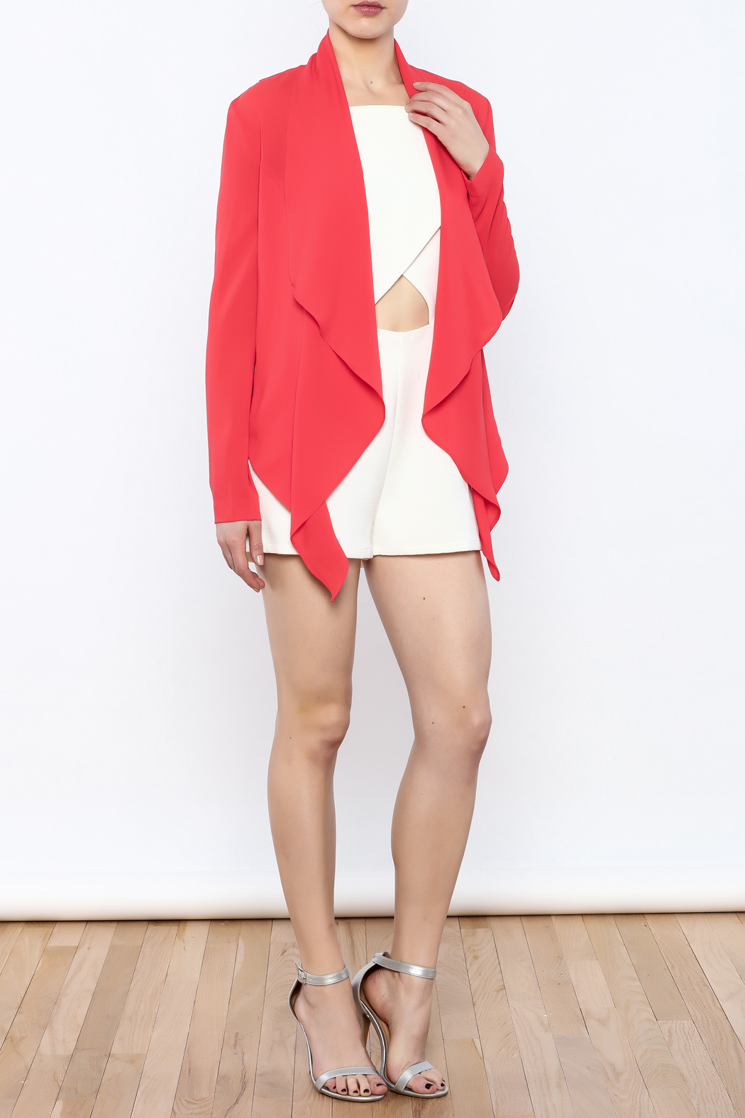 Aryn K Cropped Ruffle Light Jacket - Front Full Image