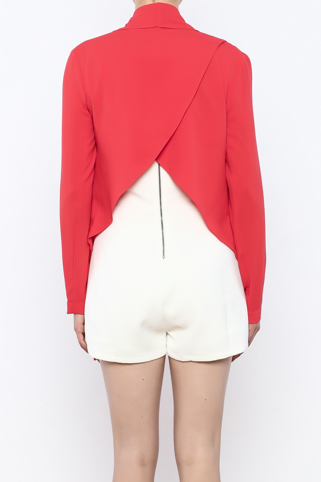 Aryn K Cropped Ruffle Light Jacket - Back Cropped Image