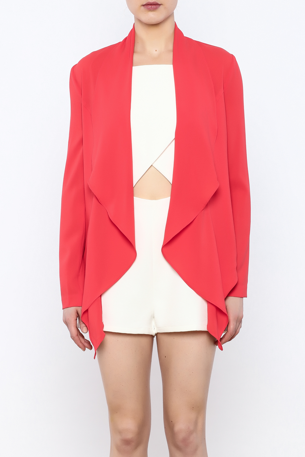 Aryn K Cropped Ruffle Light Jacket - Side Cropped Image