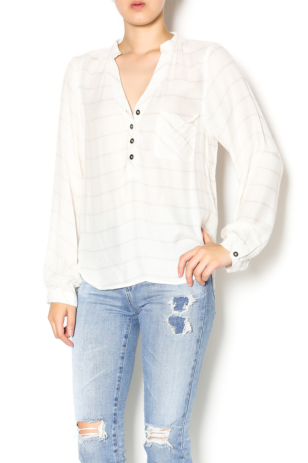 Off-White Striped Top with Tan Pocket