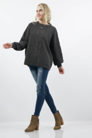 Zenana Outfitters Chunky Cable Balloon Sweater - Product Mini Image