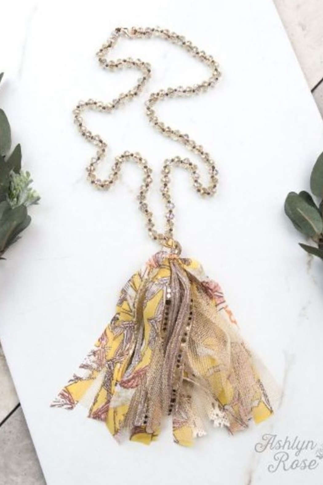 Southern Grace Ashlyn Rose Beaded Tassel Necklace - Front Cropped Image