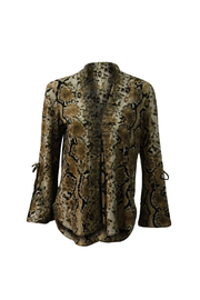 Kay Celine Ashton Snake Print V-neck Bell Slv Top - Product Mini Image