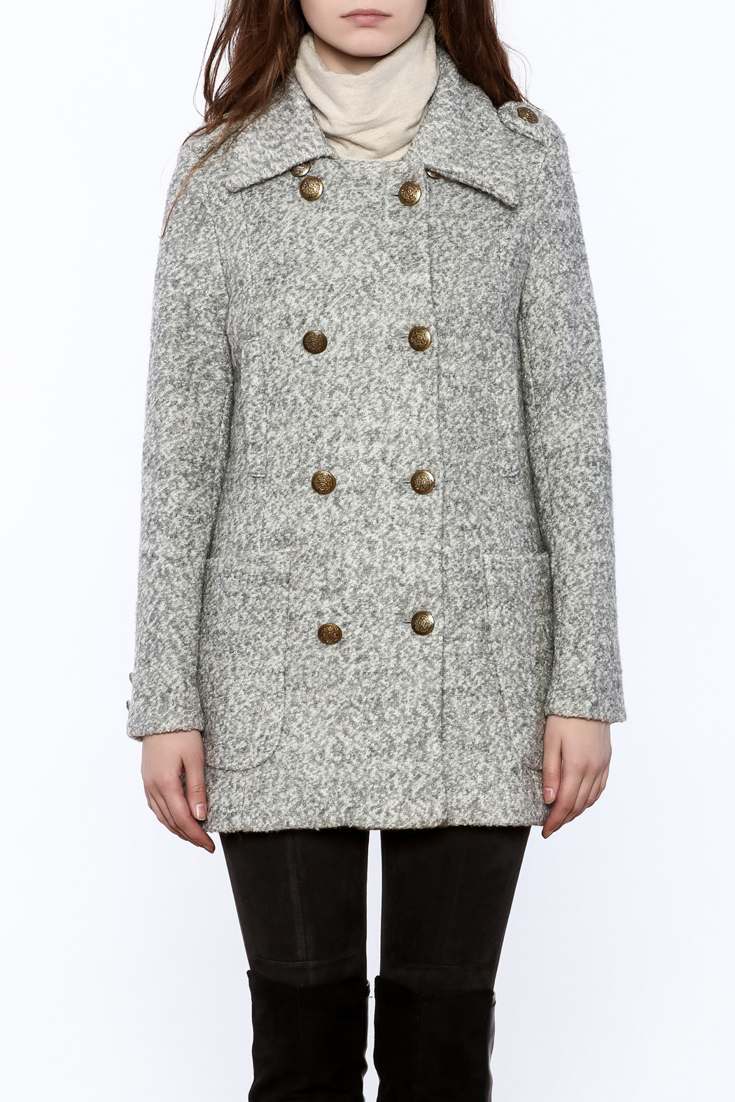 Asia Fashion  Grey Structured Peacoat - Side Cropped Image