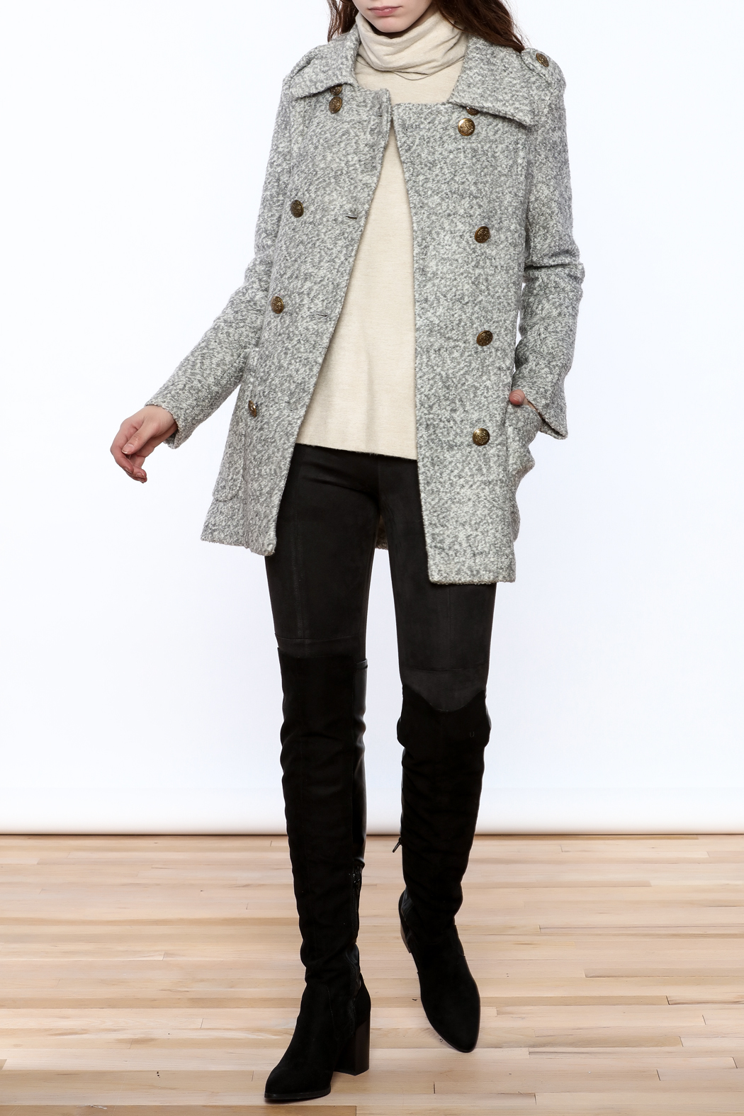 Asia Fashion  Grey Structured Peacoat - Front Full Image