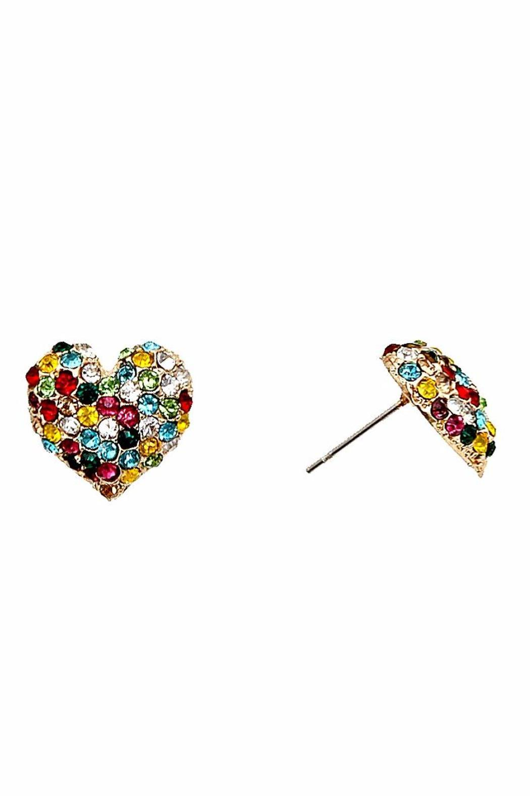 Asia Fashion  Heart Studded Earrings - Front Cropped Image