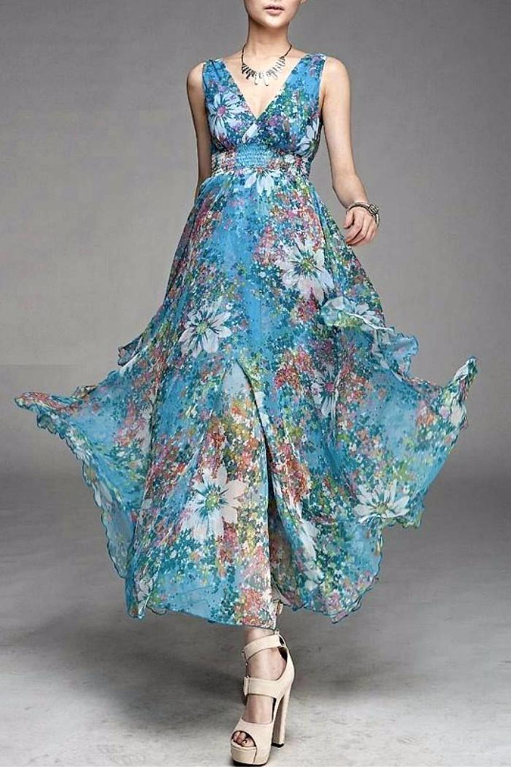 Asia Fashion  Light Blue Maxi - Front Cropped Image