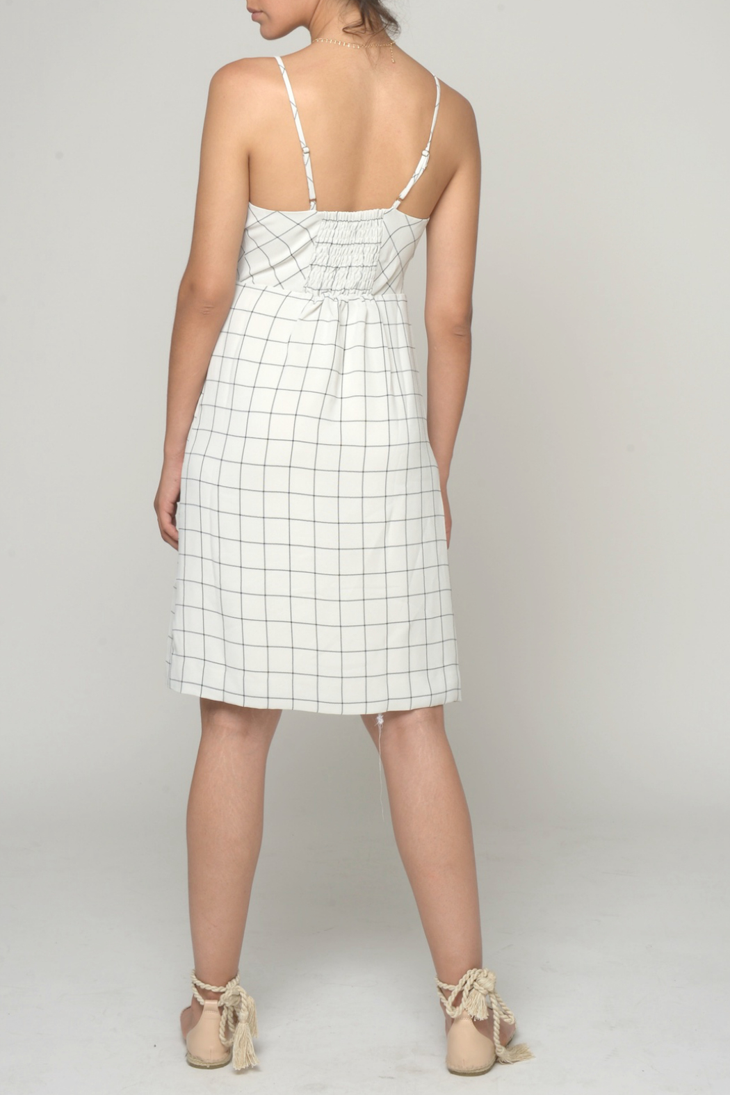 CISTAR Assymetric Button Check Print Dress - Front Full Image