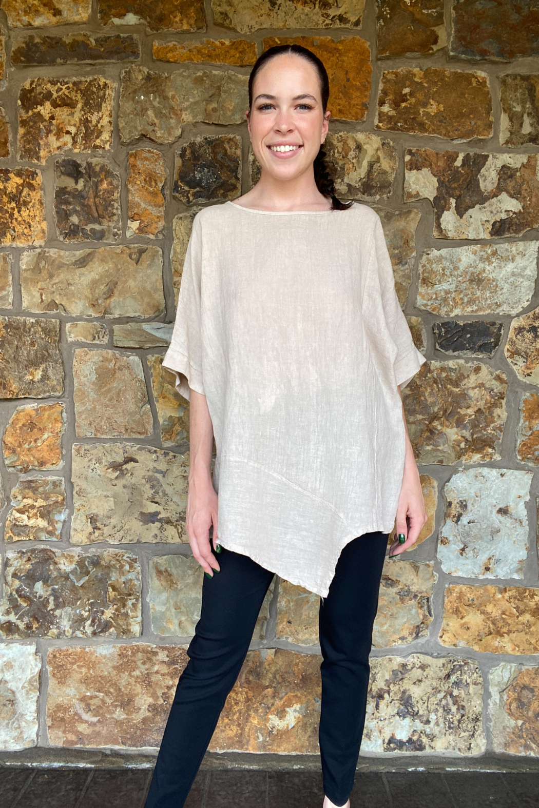 Lola Made in Italy Asymmetric Linen Tunic - Front Full Image