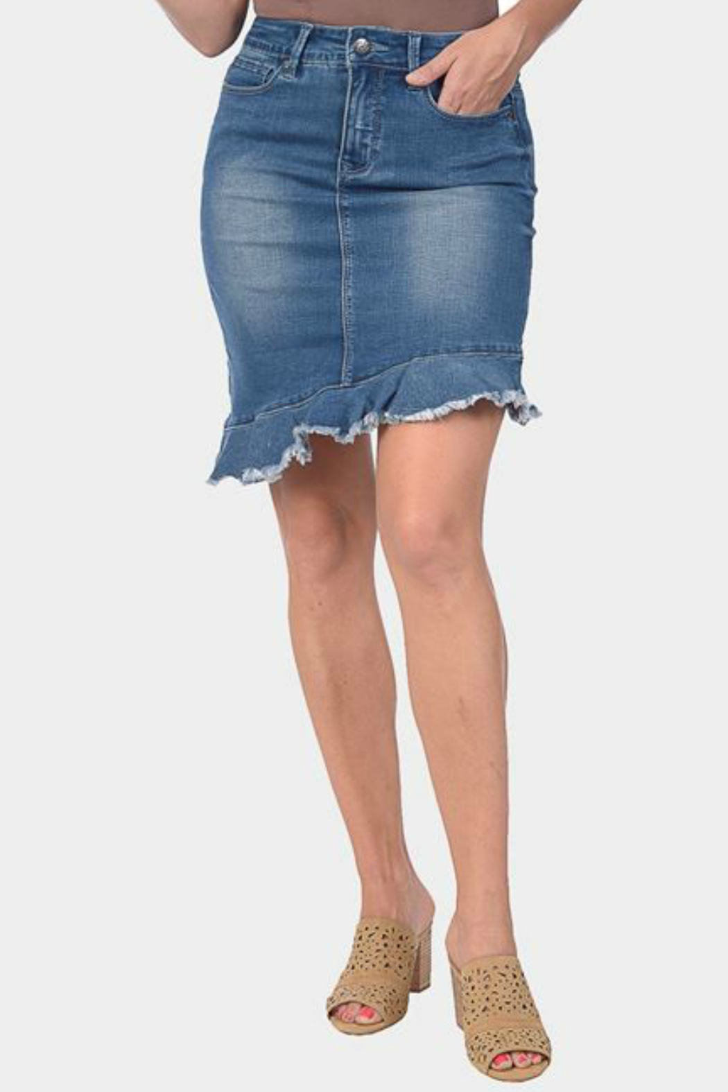 attractivedesigns top brands quality and quantity assured Lola Jeans Assymetric Ruffle Hem Denim Skirt from New Jersey ...