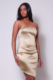 Cefian  Assymetrical Satin Mini - Front cropped