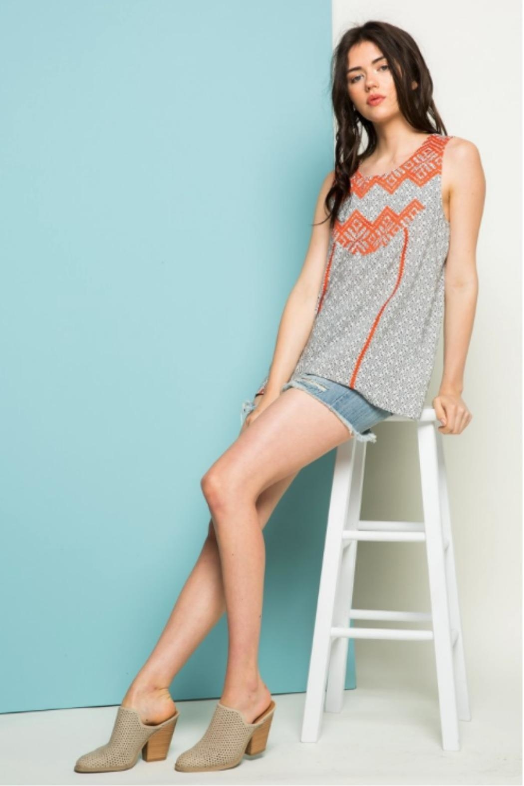 THML Clothing Aster Embroidered Tank - Side Cropped Image