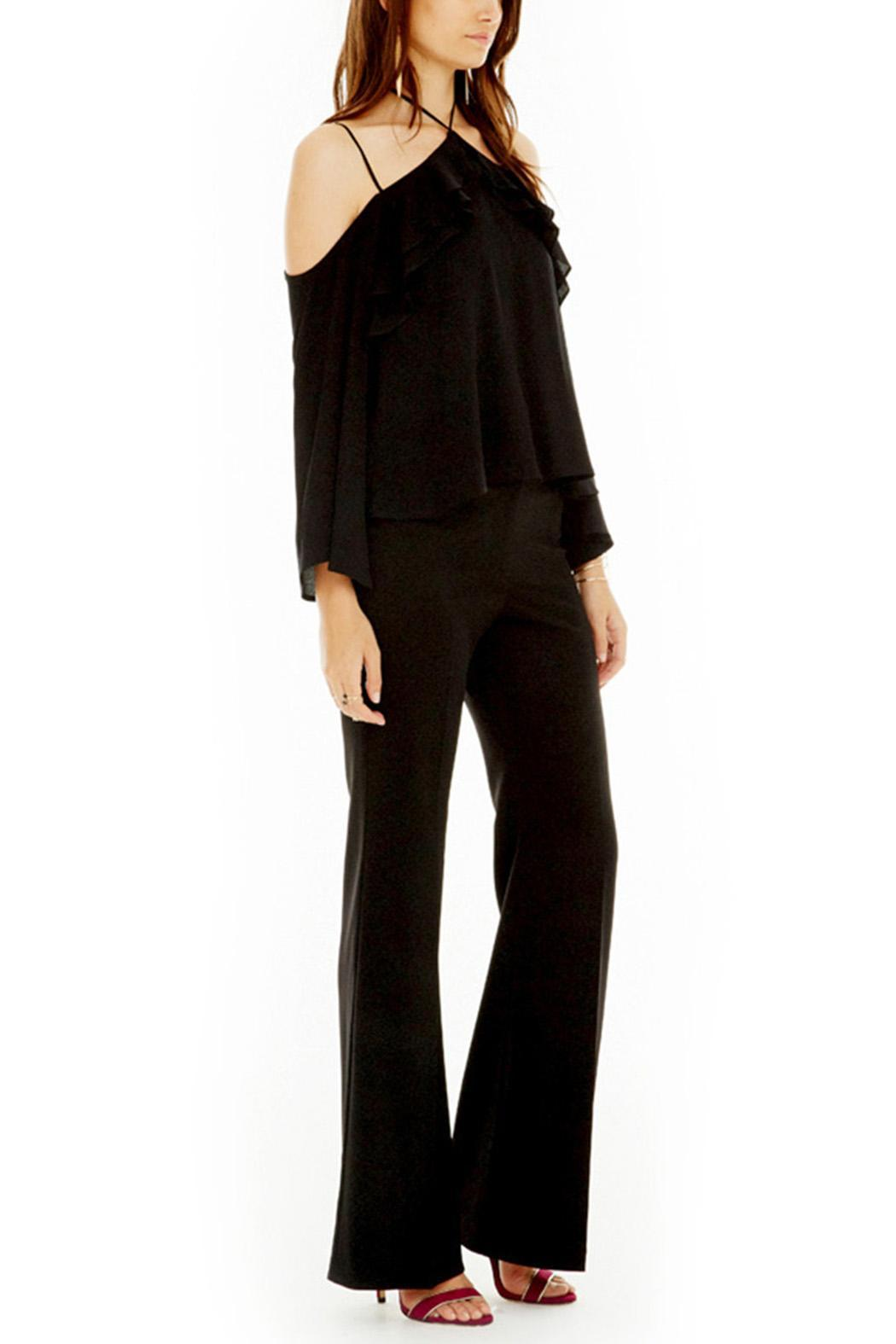 ASTR Black Ruffle Top - Front Full Image