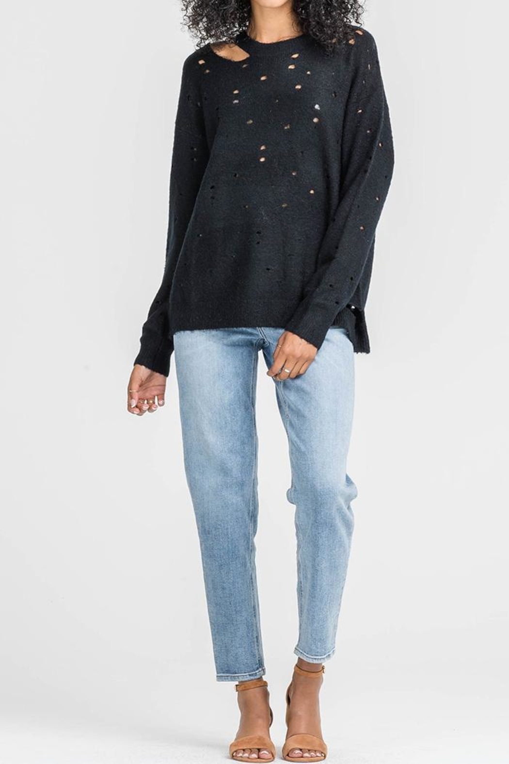 ASTR Distressed Sweater - Front Cropped Image