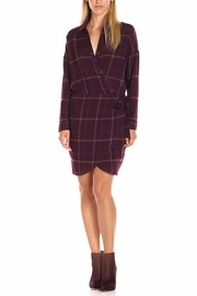 ASTR Wine Plaid Wrap Dress - Product Mini Image
