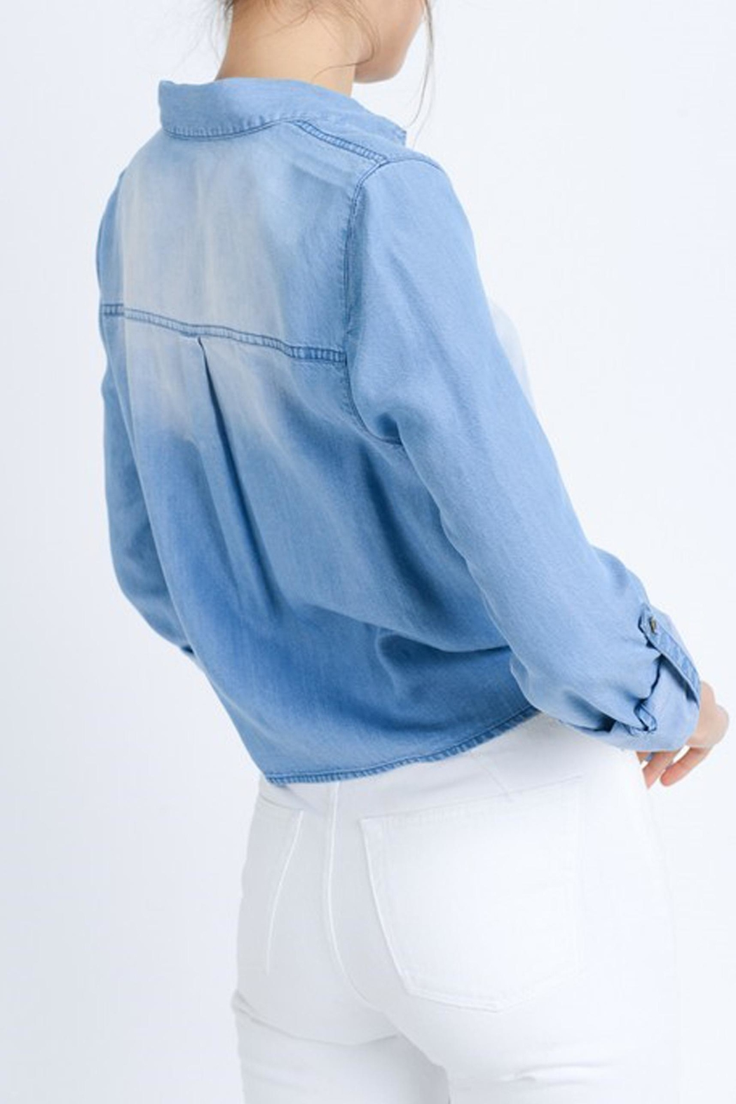 Love Tree Astrid Chambray Top - Back Cropped Image