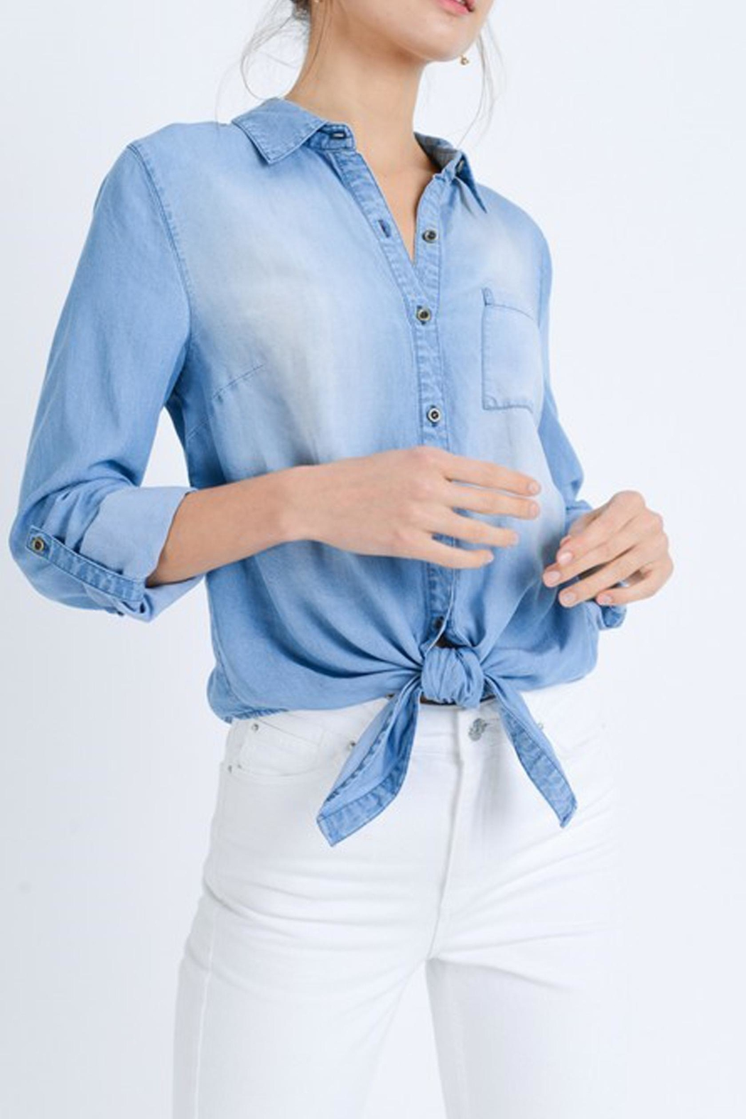 Love Tree Astrid Chambray Top - Front Full Image
