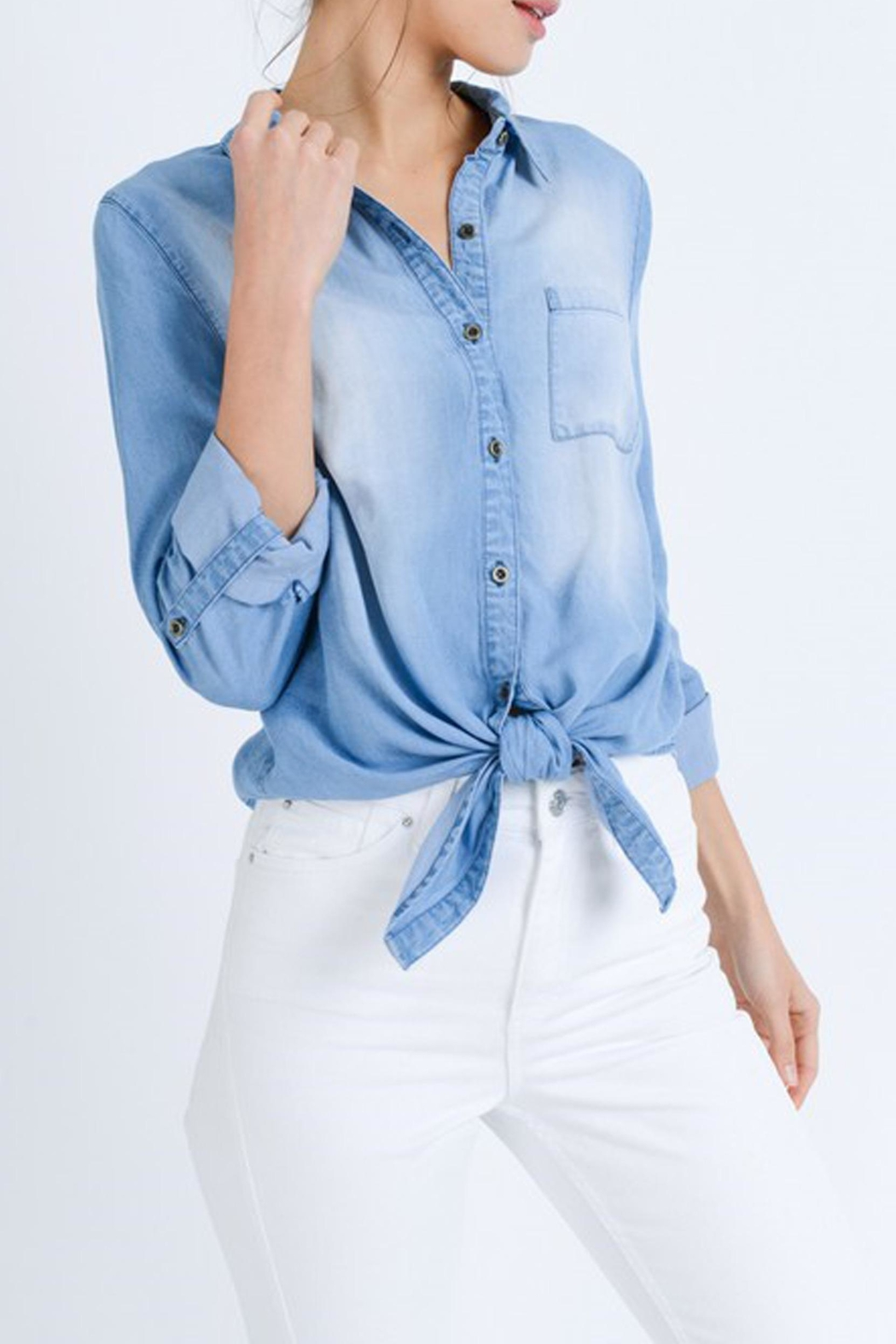 Love Tree Astrid Chambray Top - Side Cropped Image