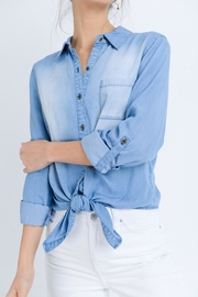 Love Tree Astrid Chambray Top - Front cropped