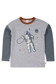 Freds World Astro Drop Shoulder Tee - Pale Grey Marl - Front cropped