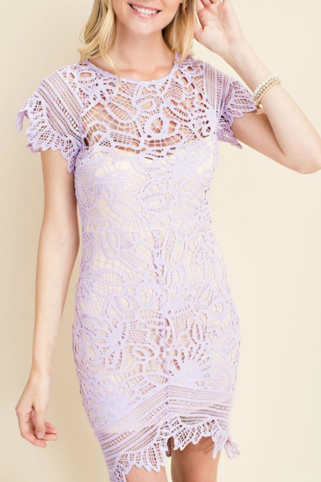 Pretty Little Things Asymetrical Lace Dress - Main Image