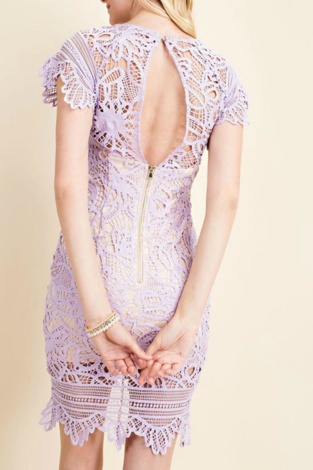 Pretty Little Things Asymetrical Lace Dress - Front Full Image